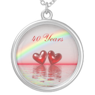40th Anniversary Ruby Hearts Silver Plated Necklace