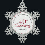 """40th Anniversary Ruby Hearts Snowflake Pewter Christmas Ornament<br><div class=""""desc"""">Designed to coordinate with our 40th Anniversary Ruby Hearts collection. Featuring delicate ruby hearts. Personalise with your special forty years ruby anniversary information in chic lettering. Designed by Thisisnotme©</div>"""