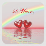 40th Anniversary Ruby Hearts Square Stickers