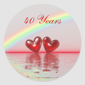 40th Anniversary Ruby Hearts Stickers