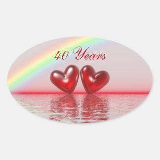 40th Anniversary Ruby Hearts Sticker