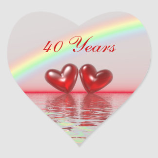 40th Anniversary Ruby Hearts Heart Stickers