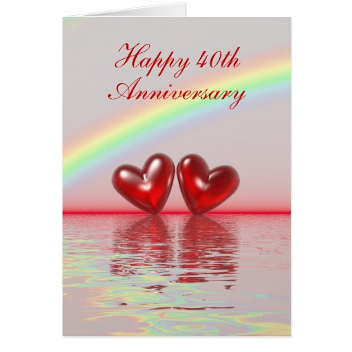 40th Anniversary Ruby Hearts Tall Card
