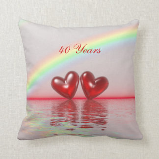 40th Anniversary Ruby Hearts Throw Pillow