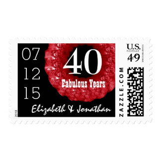 40th Anniversary RUBY RED Roses Wreath V01H1 Postage