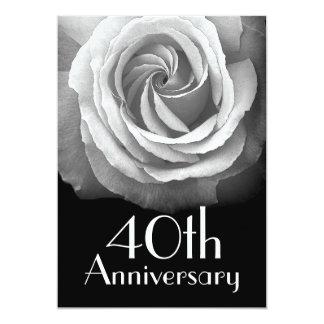 40th Anniversary Silver White Rose 5x7 Paper Invitation Card