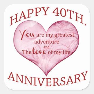 40th. Anniversary Square Stickers