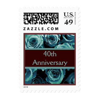 40th Anniversary TURQUOISE Roses CHOCOLATE Ribbon Stamps