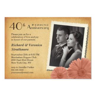 40th Anniversary Vintage Daisy Photo Invitations