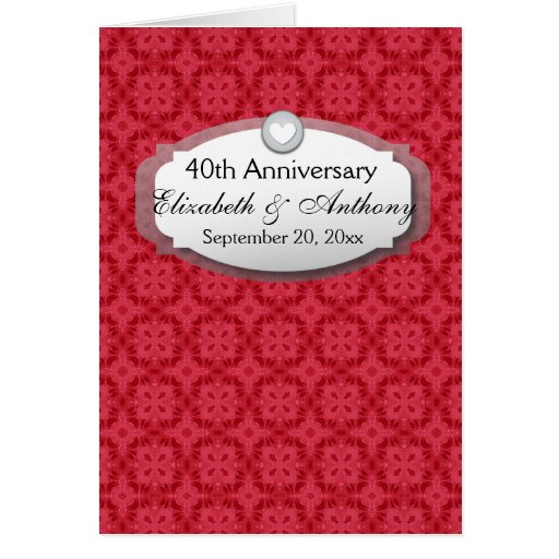 Ruby Wedding Anniversary Gift Experiences : 40th Anniversary Wedding Anniversary Ruby Red Z06 Card Zazzle