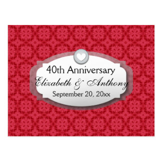40th Anniversary Wedding Anniversary Ruby Red Z06 Postcard