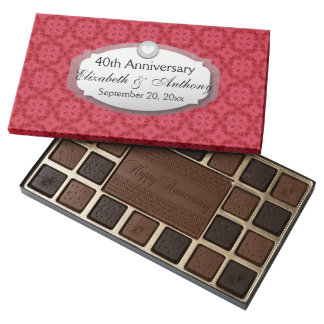 40th Anniversary Wedding Anniversary Ruby Red Z06 45 Piece Assorted Chocolate Box