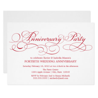 40th Anniversary | White/Red Invitation