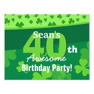 40th Awesome Birthday Green Shamrocks G002E Card