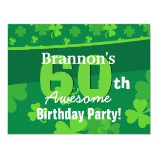 40th Awesome Birthday Green Shamrocks G002F Card