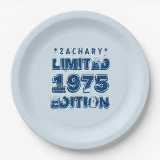 40th Birthday 1975 Limited Edition Custom E17 BLUE 9 Inch Paper Plate