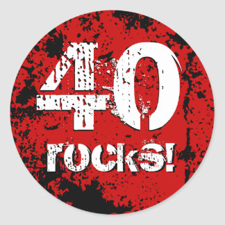 40th Birthday 40 Rocks! Grunge Red and Black A01B Classic Round Sticker