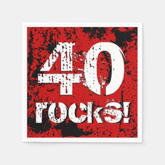 40th Birthday 40 Rocks! Grunge Red and Black A02 Napkin