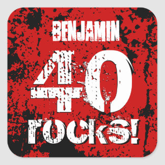 40th Birthday 40 Rocks! Grunge Red and Black A21 Square Sticker