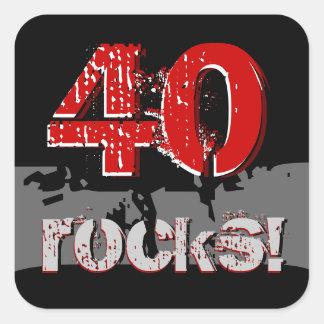 40th Birthday - 40 Rocks! Grunge Red and Black Square Sticker
