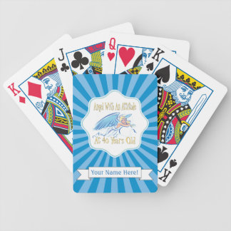 40th Birthday Angel With An Attitude Bicycle Playing Cards