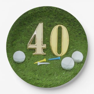 40th Birthday Anniversary Golf ball with tee golf Paper Plate