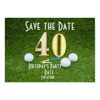 40th Birthday Anniversary Golf ball with tee Invitation