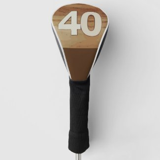 40th birthday  anniversary on wooden background golf head cover