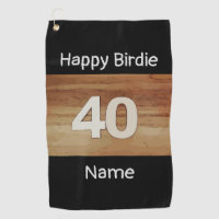 40th birthday anniversary on wooden background golf towel