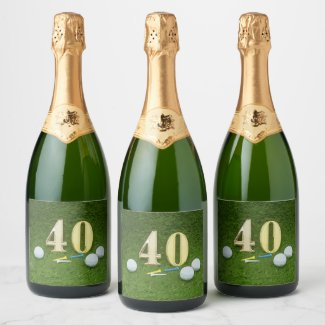 40th Birthday Anniversary wedding  Golf ball Champagne Label