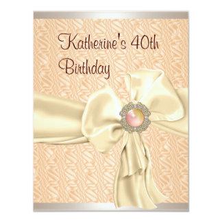 40th Birthday Apricot Cream Metal Jewel Ribbon 4.25x5.5 Paper Invitation Card
