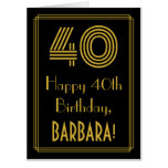 "[ Thumbnail: 40th Birthday: Art Deco Inspired Look ""40"" + Name Card ]"