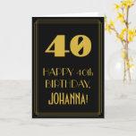 "[ Thumbnail: 40th Birthday – Art Deco Inspired Look ""40"" & Name Card ]"