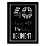 "[ Thumbnail: 40th Birthday — Art Deco Inspired Look ""40"" + Name Card ]"