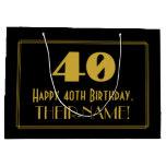 "[ Thumbnail: 40th Birthday — Art Deco Inspired Look ""40"" & Name Gift Bag ]"