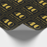 """[ Thumbnail: 40th Birthday ~ Art Deco Inspired Look """"40"""", Name Wrapping Paper ]"""