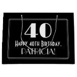 "[ Thumbnail: 40th Birthday: Art Deco Inspired Style ""40"", Name Gift Bag ]"