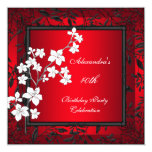 40th Birthday Asian Red Black Floral Silver White Card