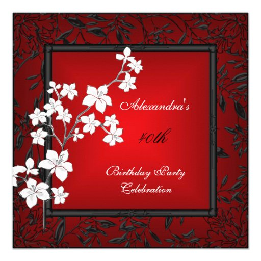 40th Birthday Asian Red Black Floral Silver White Custom Invitation