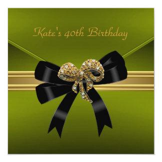 40th Birthday Avocado Rich Royal Black Gold Jewel 5.25x5.25 Square Paper Invitation Card