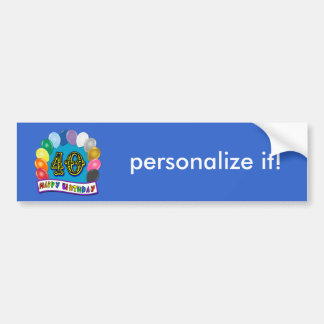 40th Birthday Balloons Design Car Bumper Sticker