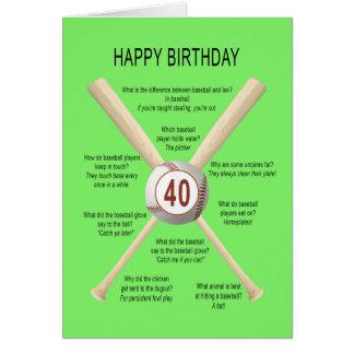 40th birthday baseball jokes card