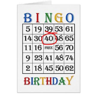40th Birthday Bingo card