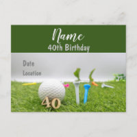 40th birthday birthday party invitation on green