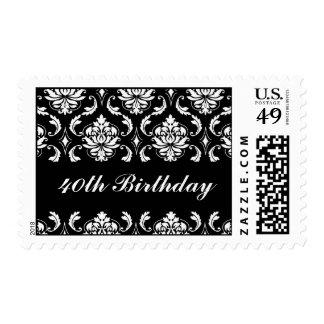 40th Birthday Black White Damask Postage Stamps
