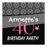 40th Birthday Black White Pink Ornate Diamonds G50 Announcements