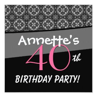 40th Birthday Black White Pink Ornate Diamonds G50 Announcements