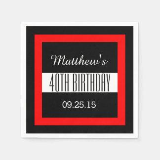 40th Birthday Black with Red Frame Custom V01C3 Paper Napkin