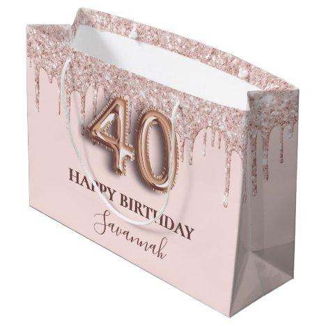 40th birthday blush pink glitter drips rose gold large gift bag