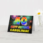 [ Thumbnail: 40th Birthday: Bold, Fun, Fireworks, Rainbow 40 Card ]